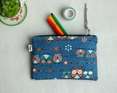 Owl Zipper Pouch, Woodland Pouches, Mens & Womens Pencil Case, Owls Pen Holder, Blue Make Up Bag, Cosmetic Pouch, Cable Zipper, Her and Him
