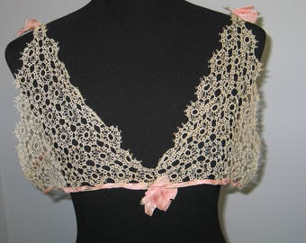 Antique Lace Collar / Antique Tatted Lace / Collar / Capelet / Blouse / Dress Front / Vintage Lace / Handmade Lace