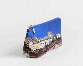 Printed Pencil Pouch - Landscape Zipper Pouch - Blue Pencil Case - Vegan Make Up Bag - Nature Lover Gift - Blue Cotton Travel Pouch Bag