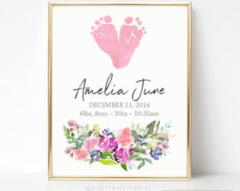 Pink Watercolor Flower Nursery Decor, Boho Glam Girls Room, Art Print, Personalized  with your Baby's Footprints 8x10 in UNFRAMED EL