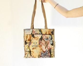 Vintage Cat Tapestry Bag Vintage Cat Pattern Book Bag Cat Purse 90s Cat Bag Library Bag Shoulder Bag School Bag