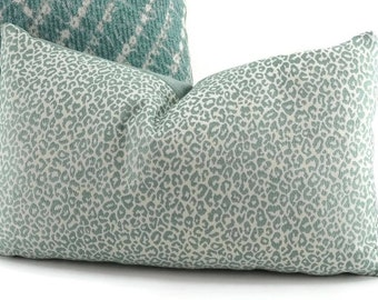 Aqua & White Cheetah Print Pillow Cover, 12x20, 18x18
