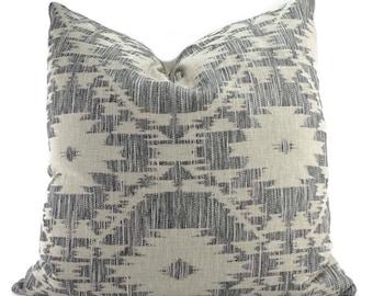 Black, Gray & Tan Ikat Throw Pillow Cover, 22x22