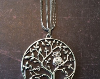 Tree Necklace - Tree Jewelry - Tree Pendant - Tree Pendant Necklace - Owl Necklace - Large Silver Pendants - Owl Jewelry - Owl Pendant - Owl