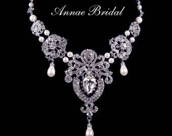 """Bridal necklace, rhinestone and white pearl bridal necklace, wedding jewelry, Swarovski pearl, """"Royal Highness"""" necklace"""