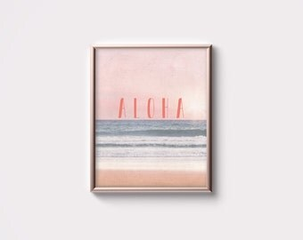 PRINTABLE Summer Art - Aloha - Tropical Beach Art - Peach - Gray - Wall art - Minimalist Quote Art - Dorm Room Decor - Gift for Her SKU:2281