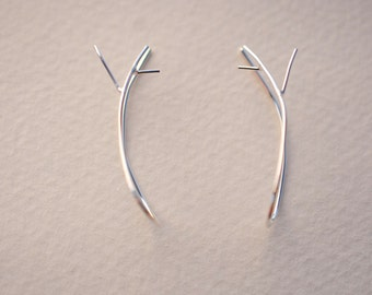 Outward Twig Root Earrings Branches Twig Sterling Silver Handmade Dangle Nature Jewelry