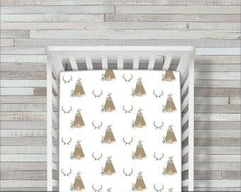 Crib Sheet, Crib Bedding, TeePee Crib Sheet, Woodland Crib Sheet, Deer Baby Bedding, Antler Crib Sheets, Fitted Crib Sheet, Crib Bedding