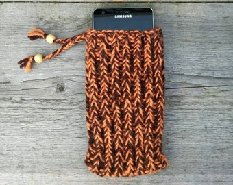 Orange phone case with brown - iPhone 7,  iPhone SE, iPhone 6S, iPhone 6, iPhone 5S, iPhone 5 - hand knitted , phone cover , phone sock