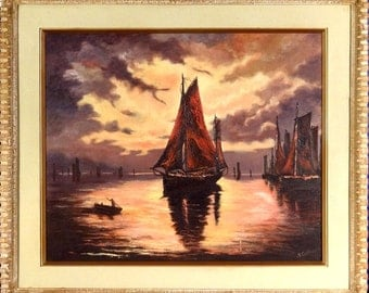 Rare ca.1945 Sailing Boats Under the Moonlight Seascape Painting Oil/Canvas/Frame