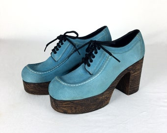 Vintage 70s DISCO FEVER Blue Suede Platform Shoes Size 11 -> 11.5 // Flagg Bros // 1970s // Glam // Rocker // Bowie // Elton John // Retro