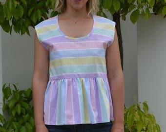 Summer peplum top, smock top, cotton top, vintage fabric, multicolour, candy stripe