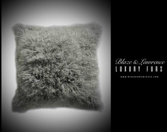 ultimate luxury gift or home bedroom hollywood grey mongolian lamb fur pillow