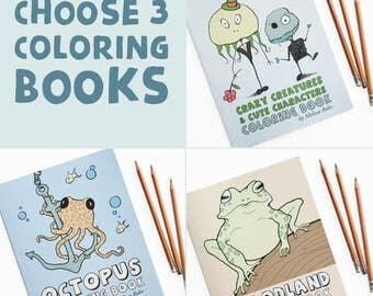 Set of 3 Coloring Books: You Pick Three, Octopus Coloring Book, Robot, Aquatic, Woodland, Crazy Creatures Coloring Book