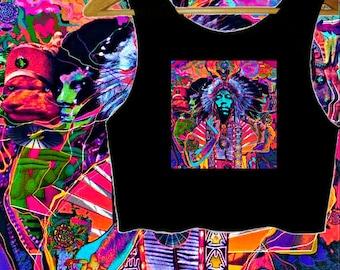Jimi Hendrix Psychedelic Crop Top