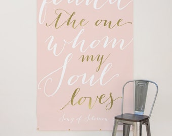 Gold Quote Wedding Backdrop - Custom Quote Back Drop for wedding ceremony,  4' x 7'