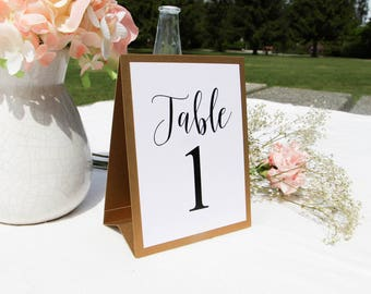 Wedding table numbers etsy gold wedding tented table number wedding table number script font table number elegant sciox Images
