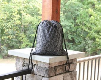 Black Floral Drawstring Gym Bag Cinch Gym Bag