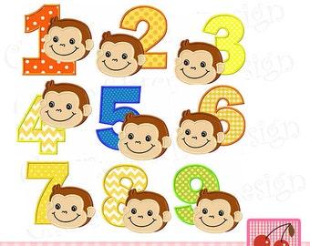 "Monkey Birthday numbers set Birthday Machine Embroidery Applique Design- 4x4 5x5 6x6"""