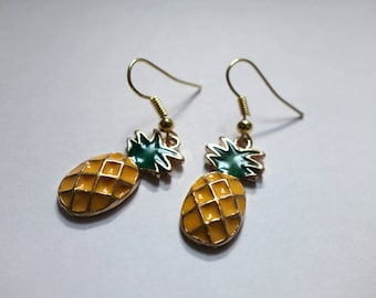 Pineapple Earrings, Gold Plated and Enamel, Bright Colored, Fruit Charm Earrings
