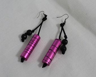 Fun Pierced Dangle Earrings in Pink / Raspberry and Black Cylinders