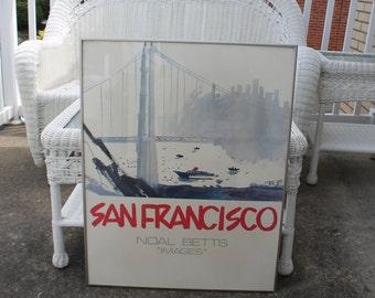 Framed San Francisco Bay Bridge Poster by Noel Betts - Signed Reproduction