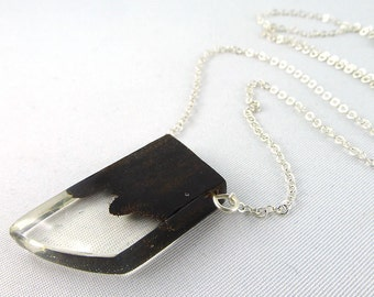 necklace, 925 silver, resin, wood
