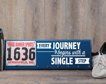 Running gifts - runners medal holder - race bib hanger - Every journey begins with a single step