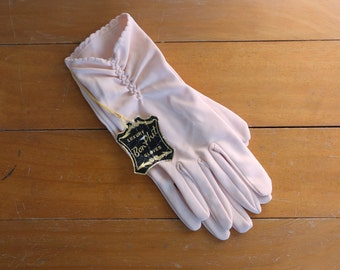 50s 60s nylon gloves / 1950s peach ruched gloves / 1960s Bon Phit gloves / vintage womens wrist gloves / deadstock NWT condition