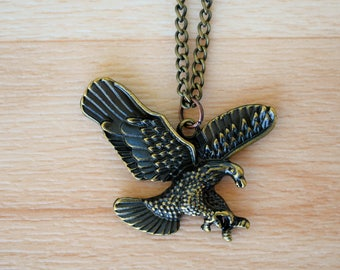 Bronze Eagle Necklace - Chain Necklace - Bronze Eagle Jewelry - Necklace For Men