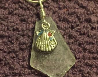 White Sea Glass w/ Sea Shell Pendant Necklace