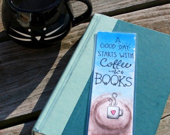 Coffee and Books Laminated Bookmark
