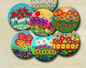FUNKY FLOWER GARDENS - Digital Collage Sheet 2.5 inch round images for Pocket Mirrors, Magnets, Paper Weights - Instant Download #238.