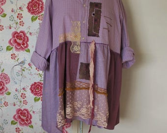 Sweet Lilacs Dress... Plus size dress/tunic made of repurposed materials