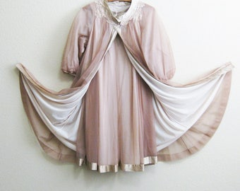 Coffee Brown Chiffon Nightgown Peignoir Set Gossard Artemis Medium