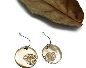Leaf Bronze Earrings, Wild Rose Earrings, Round Earrings, Botanical Jewelry, Leaf Print, Woodland Jewelry, Nature Jewelry, Handmade