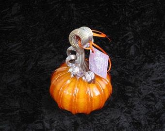 Small Golden Orange Hand Blown Glass Pumpkin T256