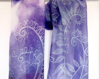 Butterfly scarf batik - Fern scarf hand painted - Mint and Purple silk scarves Zentangle scarf violet silk scarf shoulder wrap Gift for Mom