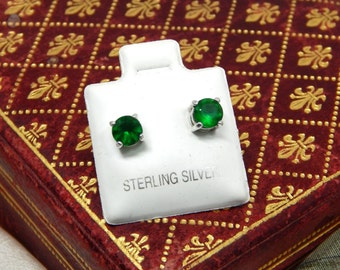 Vintage Sterling Silver Faux Emerald Stud Earrings, Emerald Green CZ Stud Earrings, Sterling Silver Studs, Green Jewelry