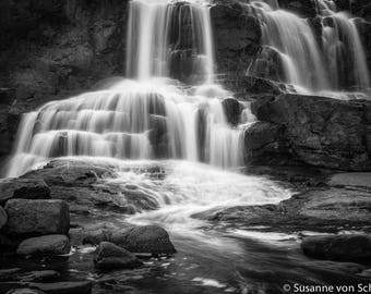 Black & White Photography, Gooseberry Falls, Lake Superior, Waterfall , Fine Art Print, Long Exposure, Peaceful, Healing Art, Home Decor