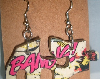 BANG! Comic Book Recycled Puzzle Dangle Earrings
