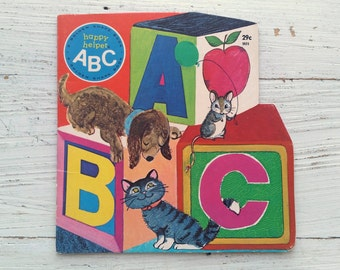 Happy Helper ABC Book . 1971 . Golden Shape Book . Vintage Alphabet Book . June Goldsborough . 1970's Children's Book . Vintage ABC Story