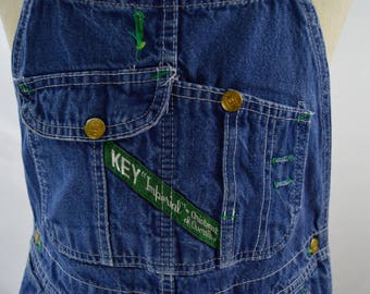 Vintage Made in USA Denim Overalls by Key Size 34 x 28.5
