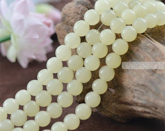 Grade A Natural Cream Color Jade Beads 6mm 8mm 10mm 12mm Smooth Polished Round 15 Inch Strand JA63 Wholesale Beads