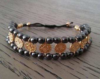 Hematite Bracelet - Coins Bracelet - Hematite and Gold Bracelet - Macrame Bracelet - Hematite Adjustable Friendship - Semi Preciouw Bracelet