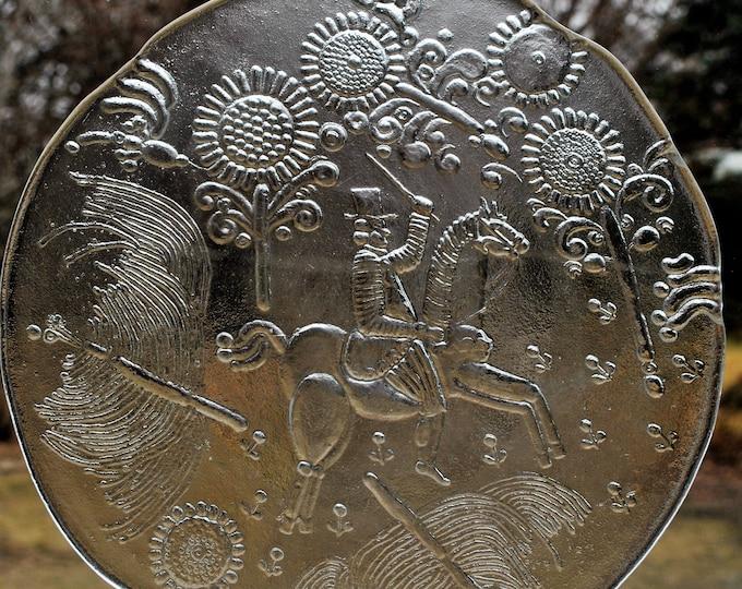 Vintage Kosta Boda Doran Glass Plate Goran Warff Scandinavian Modern Folk Art Dalom Series