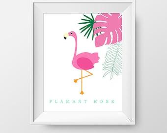 Poster 8X10 flamingo and leaf printed version - Poster for child room flamingo and exotic leaf -  Exotic, zoo, animal theme