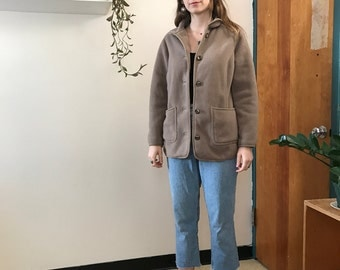 Vintage Tan Fleece Cardigan