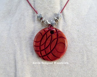 Necklace with beads hand made African Pink Ivorywood