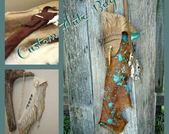 Custom Flute bag, Pipe Bag, Fringed leather flute bag